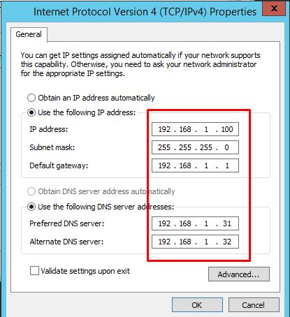 Assign a static IP Address to Windows Server 2012